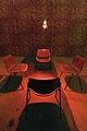 «Salon de chair», 2003, Papier peint, lampes infrarouges et chaises.