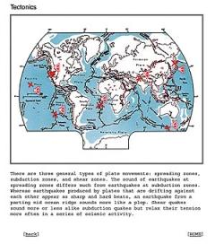 Florian Dombois · Global Tectonics, 2002, Klangkarte mit ausgewählten Erdbeben aus den Jahren 1935-2000