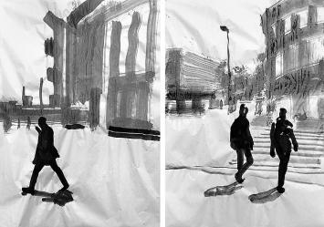 Andreas Hofer · Brugg nach dem Lockdown, 2020. Tusche auf Papier, je 89,5x128cm, ©ProLitteris