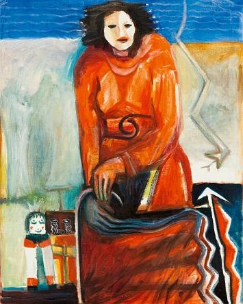 Agnes Barmettler · Hahai-i und Heheya, um 1985, Öl auf Baumwolle, 91x76cm