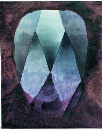 Andrea Heller · Maske, 2013, Tusche und Aquarell auf Papier, 26x18cm © ProLitteris