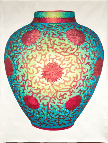 Andrew James Ward,Alcyone Vase, 2021, Öl auf Leinwand, 230 x 160 cm.