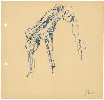"""Günter Brus, """"Aktionsskizze"""", 1966, Kugelschreiber auf Papier, 20 x 21 cm, BRUSEUM/Neue Galerie Graz, Foto: Universalmuseum Joanneum"""