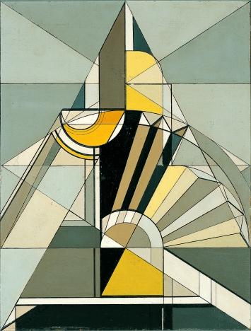 André Evard, La pyramide, Komposition aus Flasche, Glas und Serviette, 1924, Öl auf Hartfaserplatte, 35 x 26,5 cm.