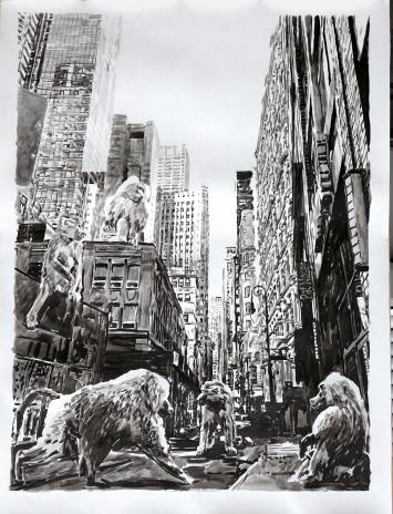Pat Noser · Wallstreet, 2021, Tusche auf Papier, 150x100cm
