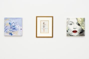 Margaret Harrison · Marilyn, 1994,Aquarell auf Papier,60x45 cm (l);Marilyn, 1998, Öl auf Leinwand,51x51 cm, Courtesy Galerie Nicolas Krupp Basel