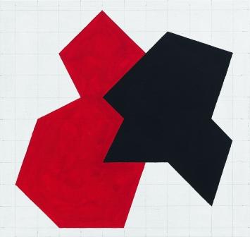 Werner von Mutzenbecher · 2 Figuren II (rot/schwarz), 2017, 55x58cm, Acryl auf Baumwolle.Foto: Serge Hasenböhler