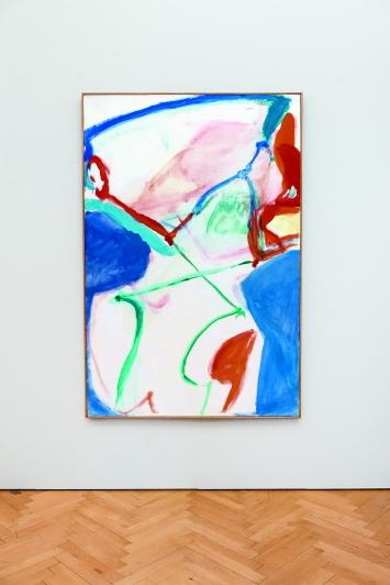 Maria Lassnig · Blau gekreuzte Figur, 1961, Kunst Museum Winterthur, Maria Lassnig Stiftung, Installationsansicht Kunstmuseum St.Gallen.Foto: Mark Mosman