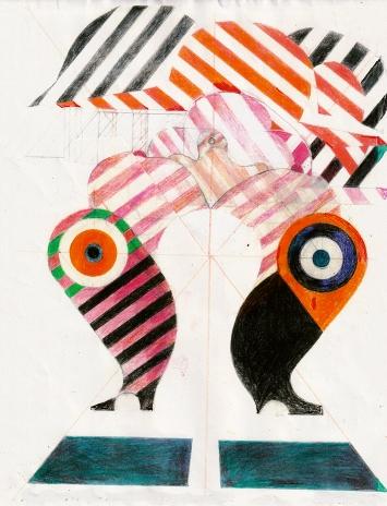 Barbara Stauffacher Solomon · Supercloud 21, 2020, Tusche, Grafit und Farbstift auf Papier, 27,9x21,5cm, Courtesy Galerie von Bartha