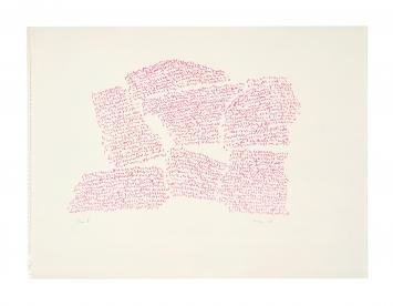 Irma Blank · Eigenschriften, Page I, 1968, Pastell auf Papier, 30x40,3cm.Foto: C. Favero
