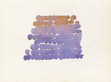 Irma Blank · Germinazioni blu– oro n. 1, 1982, Mischtechnik auf Papier, 46x62cm