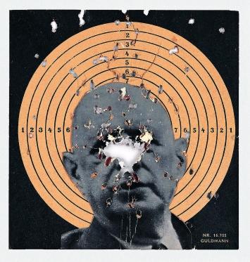 Zielscheibencollage aus der Ausstellung ‹Destruktion af RSG-6› in der Galerie Exi Odense, Dänemark 1963; Courtesy Private Collection