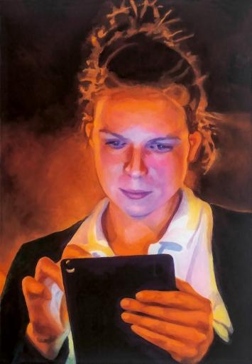 Silvia Gertsch · Henriette, 2020, Hinterglasmalerei, Öl auf Glas, 77x53cm