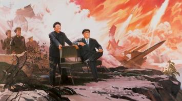 Pak Yong Chol · The Missiles, 1994–2004, Öl auf Leinwand, 152x272cm.Foto: Sigg Collection, Mauensee