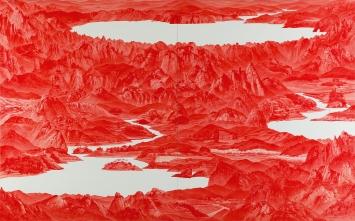Sea Hyun Lee · Between Red33, 2008, Öl auf Leinwand, 2-teilig, je 250x200cm.Foto: Sigg Collection, Mauensee