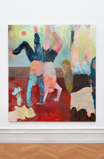 Georgia Gardner Gray · Handstand, 2020, Öl auf Leinwand, Ausstellungsansicht Kunsthalle Bern, 2021.Foto: Stefan Burger