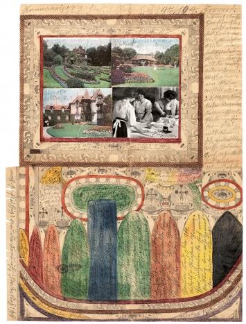 Adolf Wölfli · Höhn=Riesen=Mooss=Villen, Gamppanien, Schlösser, Thürme und Park, 1919 Bleistift, Farbstift und Collage auf Papier 100x71,8cm, Adolf Wölfli-Stiftung, Kunstmuseum Bern