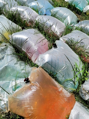 Alex Dorici · Acqua salata confezionata #1, 2020, (Detail), Plastik, Wasser und Salz aus Bex, Farbstoffe, ca.30m2, Courtesy Bex & Arts.Foto: Jacques Bétant