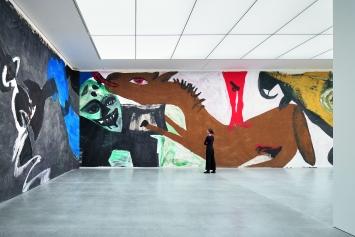 Martin Disler, Die Umgebung der Liebe, 1981 (Ausschnitt), Saalaufnahme Bündner Kunstmuseum Chur.Foto: Ralph Feiner