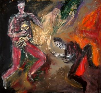 Martin Disler · Theater des Überlebens, 1995, Acryl auf Leinwand, 190x210cm, Privatsammlung