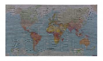Carmen Perrin · Reprends ton souffle, 2018, Fettkreide auf Weltkarte, 80x140cm