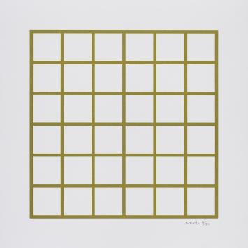 Oliver Mosset, Untitled (Grid), 2019. Siebdruck.Foto: Bernhard Strauss/Edition VFO