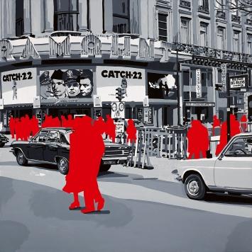 Gérard Fromanger · Paramount Cinéma, aus der Serie ‹Boulevard des Italiens›, 1971, Öl auf Leinwand, 100x100cm, Fondation Gandur pour l'Art, Genf.Foto: André Morin