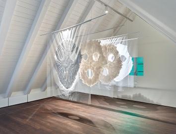 Stephanie Hess · Fratzen 1-4, 2020, Tüll, Silikon, Metallstangen, Ausstellungsansicht Benzeholz