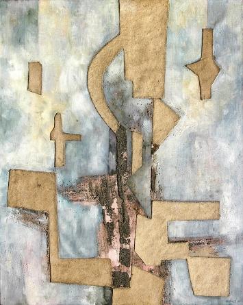 Armand Rondez · ohne Titel, 1963, Öl, Sand, Wachs auf Leinen, 161x130cm.