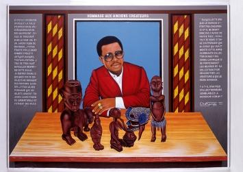 Chéri Samba · Hommage aux Anciens Créateurs, 1999, Acryl auf Leinwand, 151x201 cm, Courtesy CAAC – The Pigozzi Collection.