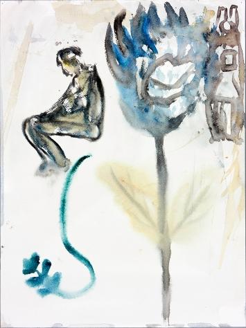 Martin Disler · Ohne Titel, 1990, Aquarell auf Papier, 40x30cm, Fondation pour les œuvres d'art du Centre scolaire et sportif des Deux Thielles, Le Landeron