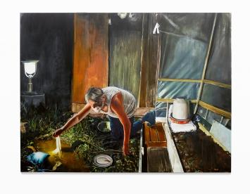 Léopold Rabus · Homme trempant un tissu dans une flaque, 2016, Öl auf Leinwand, 230x300 cm, Courtesy Musée d'art et d'histoire Neuchâtel. Foto: Sully Balmasssière