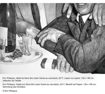 Eric Philippoz · Sans titre (Jean Genet au carnotzet), 2017, (Gesamtansicht und Detail), Bleistift auf Papier, 138 x 196 cm