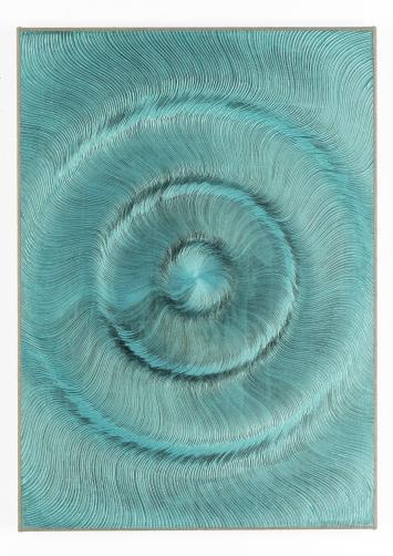 Giacomo Santiago Rogado · Coalescence (Black, Iridescent Blue Green), 2018, Acryl und Öl auf Leinen, 70x50 cm