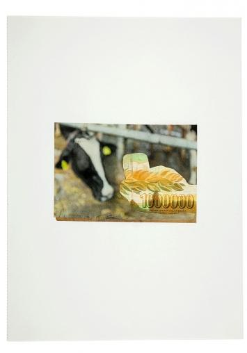 Ian Anüll · One Million, 2017, Zeitung und Banknote auf Papier, 23 x 31,5 cm