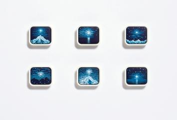 Michel Grillet · Mémoire de Paysage, 2016, Gouache auf Gouache-Farbtablette, 6-teilig, je2,9x3,4x0,9cm
