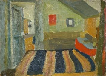 Irma Ineichen · Mein Zimmer in Les Lilas 1954, Öl auf Karton, 24,5x34 cm.Foto: Tobias Ineichen