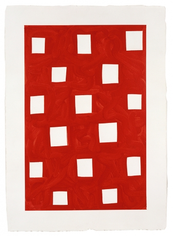 Mary Heilmann · The Red Screen, 1995, Öl auf weiss grundiertem Papier, Courtesy Hauser & Wirth und 303 Gallery New York
