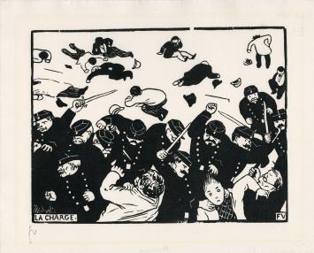 Félix Vallotton, La Charge, 1893, Holzschnitt auf Velinpapier, 200x260mm, Musée Jenisch Vevey– Cabinet cantonal des estampes, collection de la Ville de Vevey
