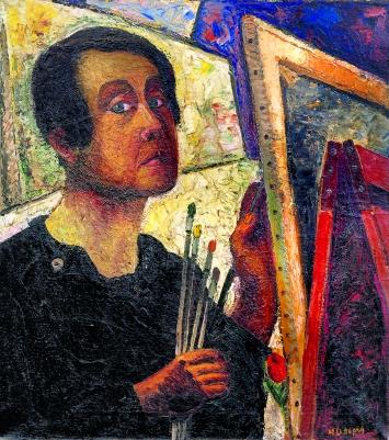 Helen Dahm · Selbstporträt als Malerin, 1927, Öl auf Leinwand, 73x64 cm, Kunstmuseum Thurgau