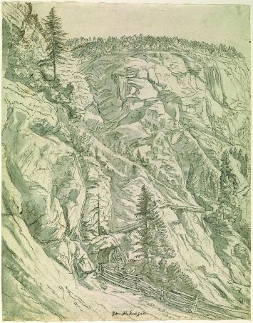 Jan Hackaert · Die Viamala, 1655, Feder in Grau, braun, grau und lila-grau laviert, über Grafit, 37,6/37,1x29,5cm, Kunsthaus Zürich, Graphische Sammlung
