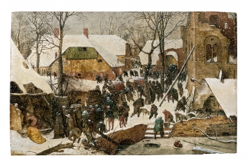 Pieter Bruegel d.Ä. · Die Anbetung der Heiligen Drei Könige im Schnee, 1563, signiert und datiert unten links, Öl auf Eichenholz, 35x55 cm, Sammlung Oskar Reinhart Am Römerholz, Winterthur