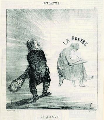 Honoré Daumier · Un parricide, Ein Muttermörder, Le Charivari, Actualités, 16.4.1850, Lithographie, 22,4x20,4cm, Kunst Museum Winterthur.Foto: Roland Schmidt, Zürich