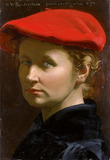 Ottilie W. Roederstein · Selbstbildnis mit roter Mütze, 1894, Tempera auf Holz, 36x24cm, Kunstmuseum Basel, Geschenk eines Kunstfreundes in Zürich 1936