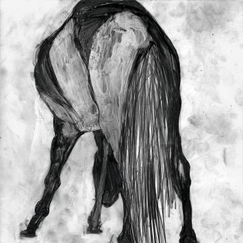 Agnès Wyler · ‹A l'ombre de l'eau›, Bleistift auf halbtransparenter Zeichenfolie auf Papier aufgezogen, 30x30cm, 2017/2018