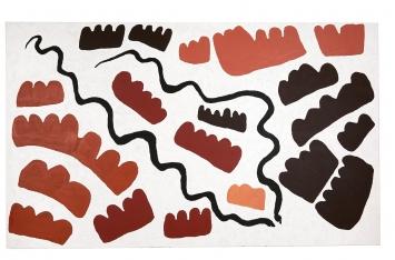 Long Tom Tjapanangka/Mitjili Naparrula · Two Snakes & Many Hills, 2002, Acryl auf Leinwand, 182x303cm, Sammlung Joëlle und Pierre Clément ©ProLitteris