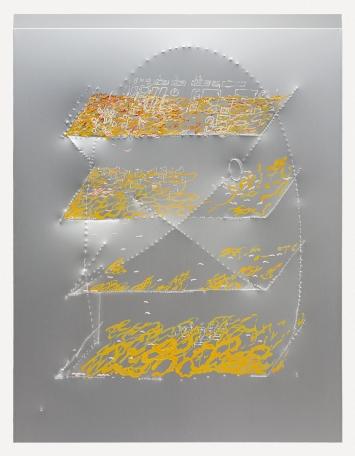 Elza Sile · Chainlink, 2020, Ölfarbe auf bearbeitetes Aluminium, 125x70cm.Foto: Jeremy Ayer