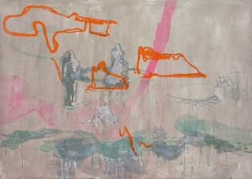 Rebekka Steiger · loin d'équilibre, 2019, Gouache, Öl, Tempera, Ölkreide und Bleistift auf Leinwand, 170x240cm