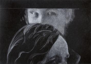 EberliMantel, vor Franz Gertsch II, 2019, Weisskreide auf Papier, 70x100cm