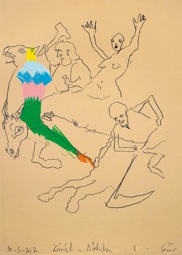 Guillaume Bruère · Zeichnung nach Arnold Böcklin im Kunsthaus Zürich, 2012, Buntstifte auf Papier, 70x50cm ©ProLitteris